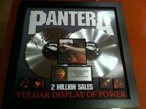 Autographed-Double-Platinum-Plaque-of-Pantera-039-s-Vulgar-Display-of-Power