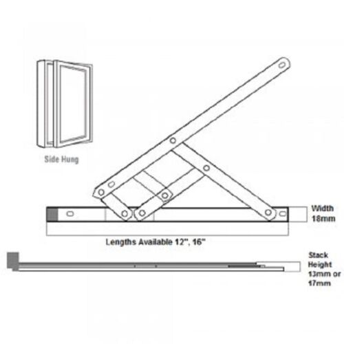 Aluminium Securistyle Defender Side Hung Window Hinges Friction Stays For Upvc