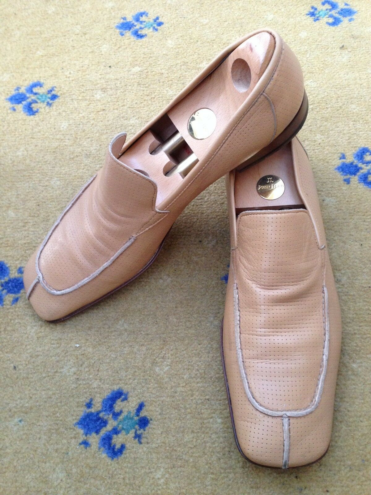 Miu Miu by Prada Mens Shoes Tan Brown Leather Loafers US 11