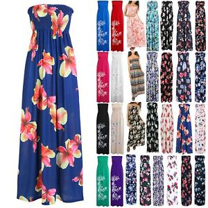 a9cf84d289 Image is loading Women-Ruched-Sheering-Boobtube-Strapless-Bandeau-Ladies- Floral-