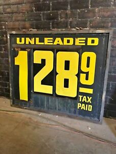 Details about Vintage Gas Station Price Sign Double Sided - Embossed  Letters & Numbers 1940s