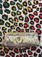 Ann Taylor Loft Clutch Purse 10 Sparkly Silver Sequin Classic Vintage