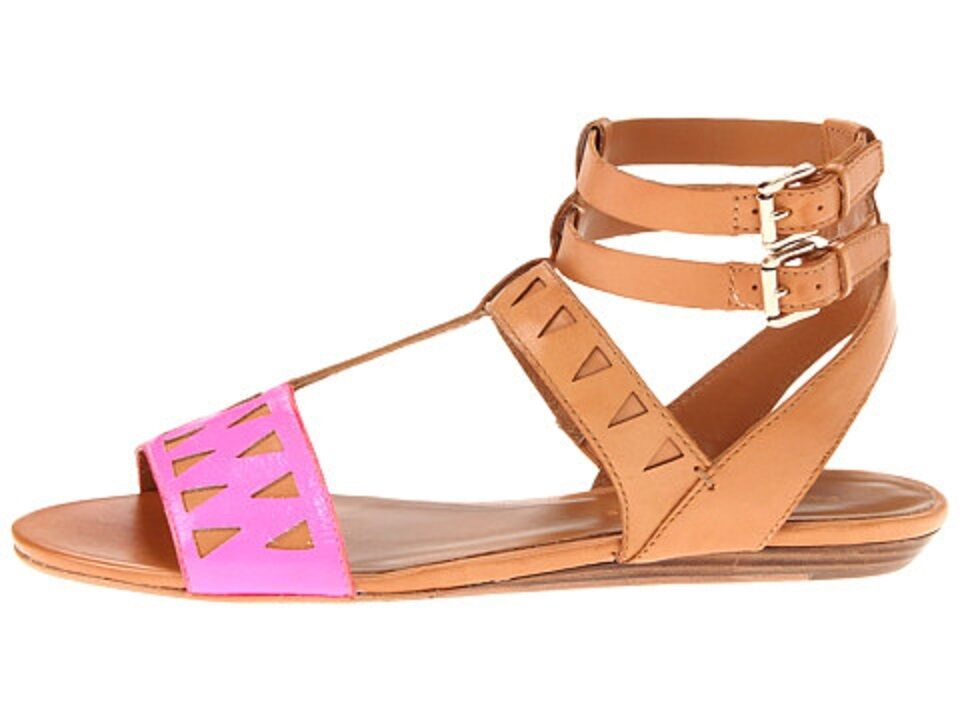 NEW Rebecca Minkoff Barb US 9 Pink Pink Pink Brown Leather Gladiator Strap Sandals shoes 7d0e65