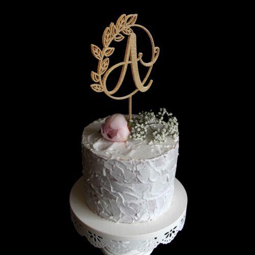 Custom Wreath Single Letter Initial Monogram Wedding Cake Topper Gold Silver