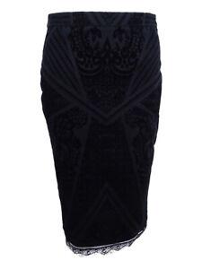 Bar-Iii-Women-039-s-Velvet-Burnout-Pencil-Skirt-S-Black