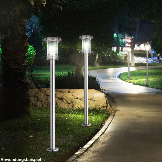 Steh Stand Leuchte Außen Lampe Edelstahl Weg Hof Terrasse Garten IP44 Balkon