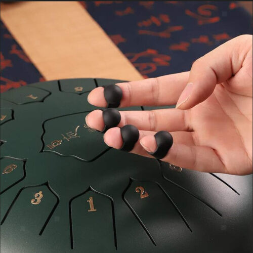 8x Tongue Drum Finger Picks Schwarzes Silikonärmel Percussion Zubehör