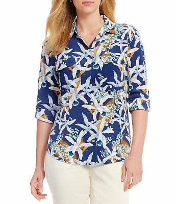 Multi-Color NWT MSRP $195 Blue TOMMY BAHAMA Orchid You Not Silk Cargo Shirt