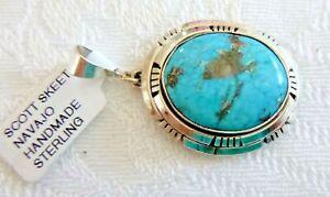 Beautiful Vintage Sterling Silver Kingman Turquoise Navajo Handmade Ring By Scott Skeets