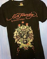 Ed Hardy Christian Audigier Lucky 13 T-Shirt - Skull Crossbones Rhinestones S