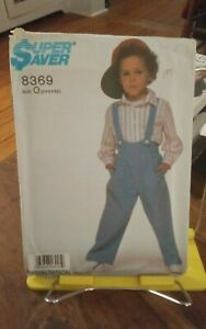 Vtg-Simplicity-Super-Saver-8369-childs-pants-suspenders-shirt-sz-5-6x-NEW