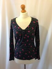 (140) Boden olive green dizzy spot twist front jersey top size UK 8