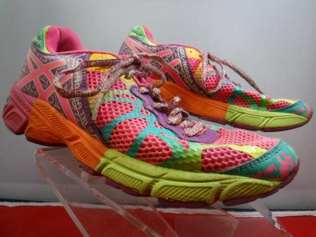 ASICS GEL Noosa Tri 9 Girls Running Shoes Sz 4.5 US C401N Multicolored Neon