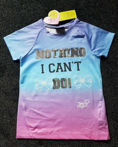 """/"""" Slogan Sizes 6-14 Years JoJo Siwa Top T-Shirt Sequins /"""" Nothing I Can/'t Do"""