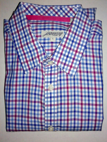 JEREMY ARGYLE NYC PINK RED WHITE BLUE PLAID FITTED