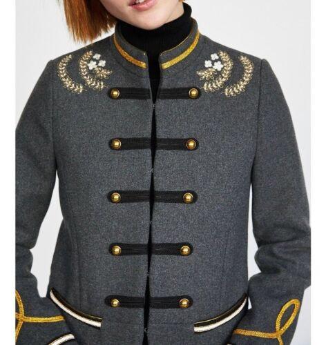 militaire en 8 courte S Blogueurs laine Uk Zara gris Veste style de Fav mélangée Taille w67Et78q