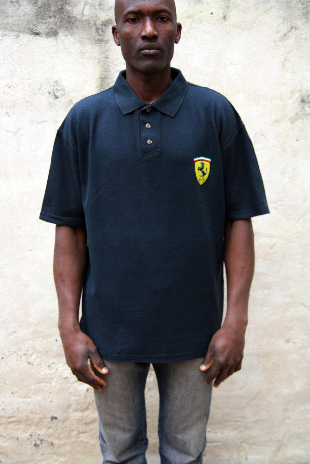 Scuderia Ferrari 1999 Nice Hommes Sport Polo NOIR Shirt Top Coton AUTH NOIR Polo L officiel 5d3918