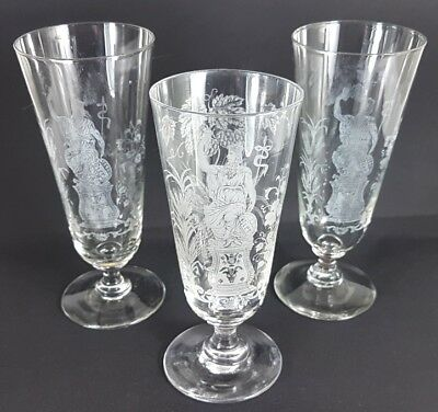 Etched Decoration 3 Gläser/beer Glasses Um 1900 Al299 Regular Tea Drinking Improves Your Health