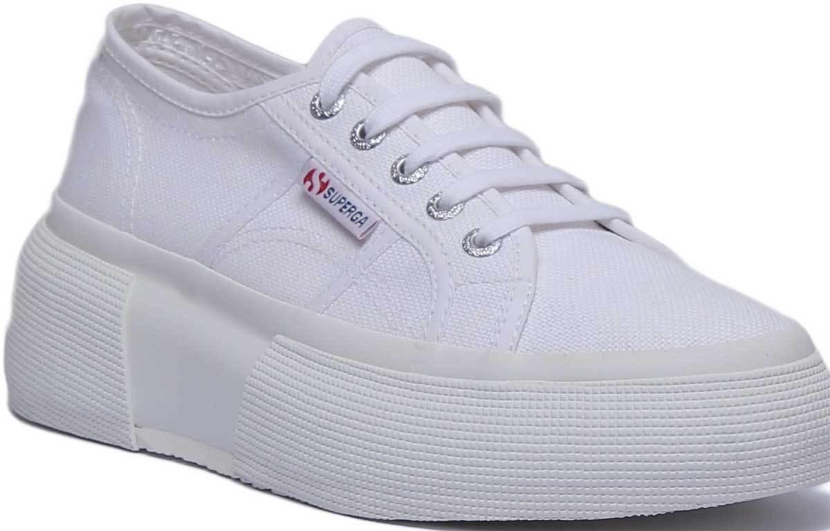 Superga 2287 Cotw Women Canvas White Platform Trainers UK Size 3 - 8