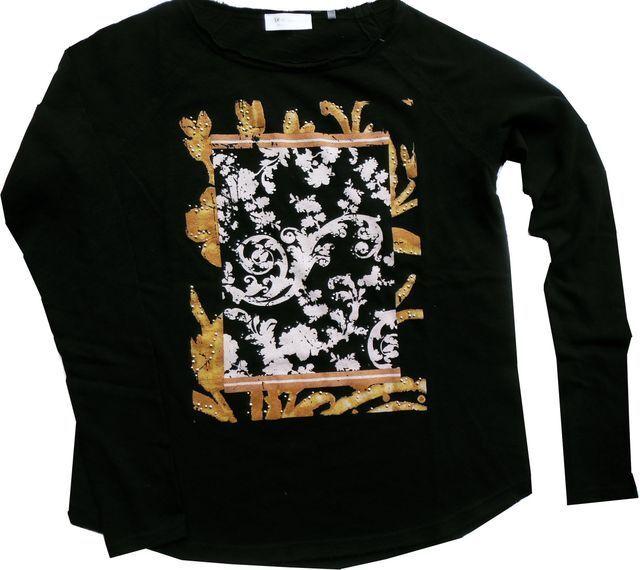 Rich&Royal heavy Jersey Slubstrickshirt schwarz leger Frontprint 1810-575