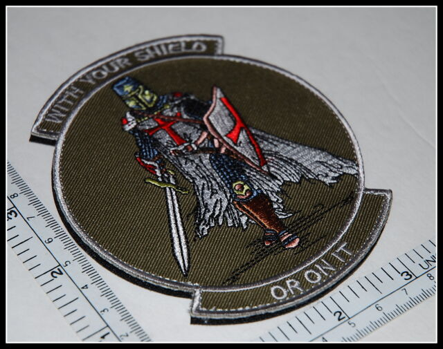 WITH YOUR SHIELD or on it TEMPLAR KNIGHTS patch CRUSADER tactical military GREEN