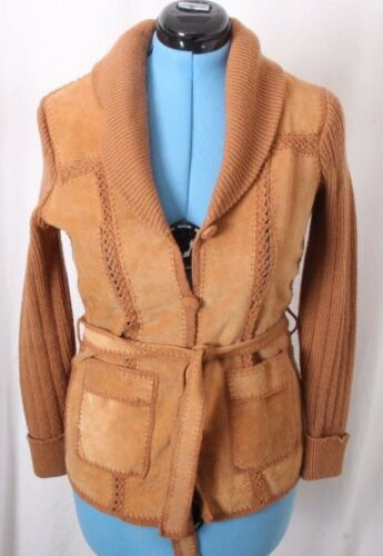 Vtg Hipster Suede Knit Leather Crochet Cardigan Sw