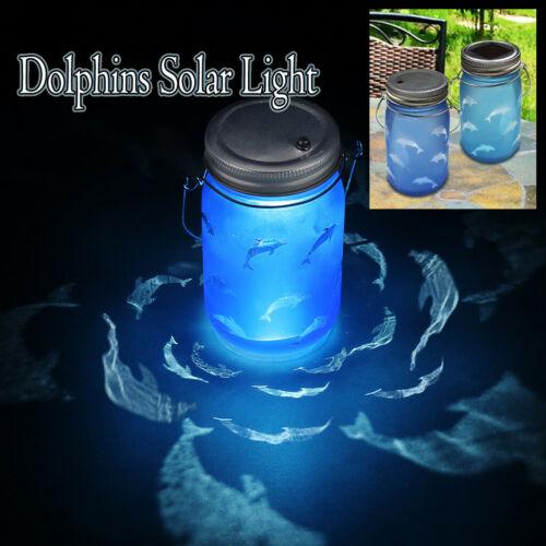 Hand Etched Dolphins Solar Mason Jar Light Bottle Projection Nightlight Patio