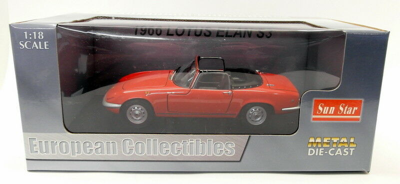 Sunstar 1 18 Scale Diecast - 4051 1966 Lotus Elan S3 Open ConGrünible rot