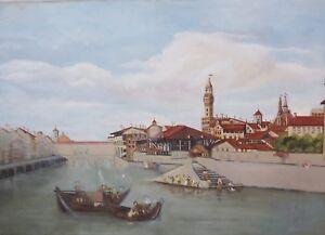 034-Hafen-Stadt-Ansicht-mit-Personenstaffage-034-Ol-Lwd-unsign-Restaurationsobjekt
