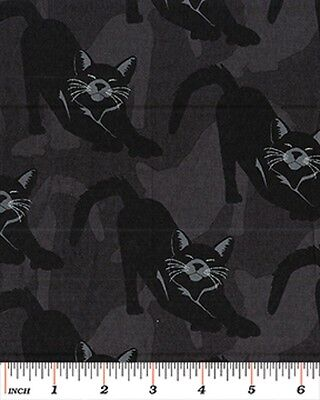 Fat Quarter Gothic Glam Cats Black Halloween Cotton Quilting Fabric Benartex