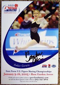 Signed-AMBER-CORWIN-U-S-Figure-Skating-SOUVENIR-SHEET-5X7-Autograph