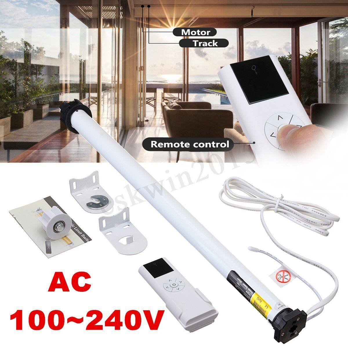 AC 100-240V DIY Electric Roller Blind   Shade Tubular Motor + Remote Control Set