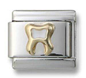 Authentic-18k-Gold-Italian-Charm-White-Enamel-Tooth-9mm-Modular-Link-Bracelet