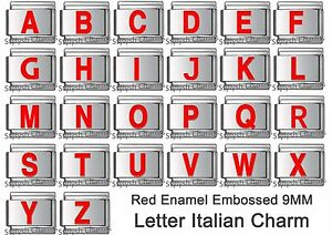 Letter italian charm red enamel 1 x 9mm link image is loading letter italian charm red enamel 1 x 9mm sciox Choice Image