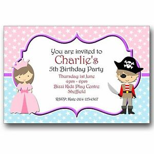 10 personalised birthday party invitations princess and pirate fancy image is loading 10 personalised birthday party invitations princess and pirate filmwisefo
