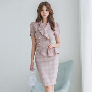 best service eee51 4c350 Dettagli su Elegante vestito abito donna completo tailleur gonna camicia  rosa morbido 5023