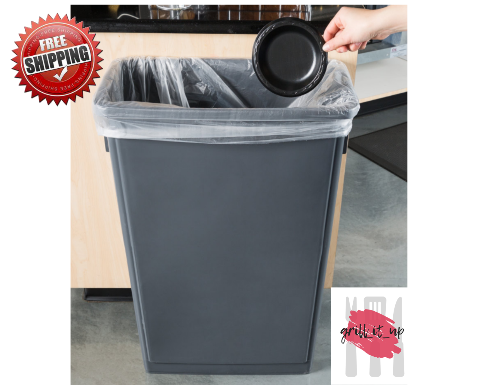 23 Gallon Heavy-Duty Gray Plastic Slim Commercial Restaurant Kitchen Trash  Can