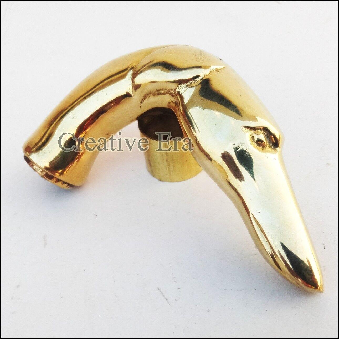 Amazing Design Brass Finish Dog Head Handle Walking Stick Canes Shaft Handle