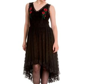 New-Black-Red-Roses-Lace-Dress-M-UK-12-Gypsy-Spin-Doctor-Goth
