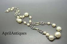 VINTAGE FRANCESE ANNI'50 Louis Rousselet Faux Pearl GLASS SAUTOIR Filigrana Collana