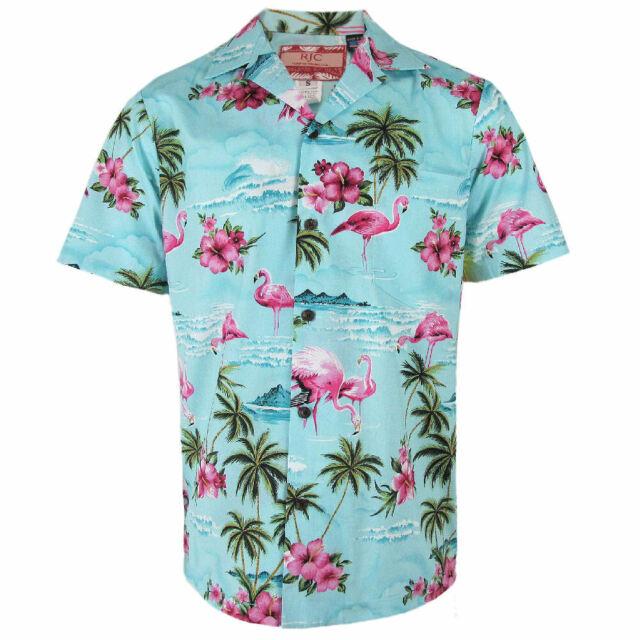 b3edeae2a Robert J. Clancey Blue Flamingo Rockabilly Authentic Hawaiian Shirt ...