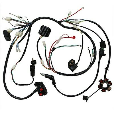 full electric wiring harness cdi coil solenoid gy6 150cc atv quad buggy go  kart