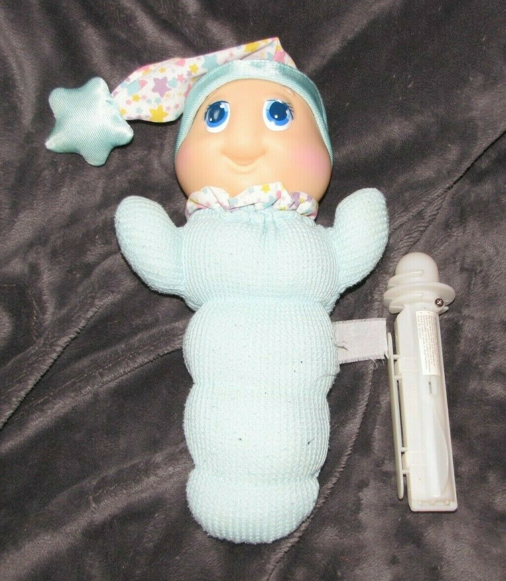 1995 Playskool Glow GLO WORM Gloworm bluee Thermal Waffle 11  Plush Vintage
