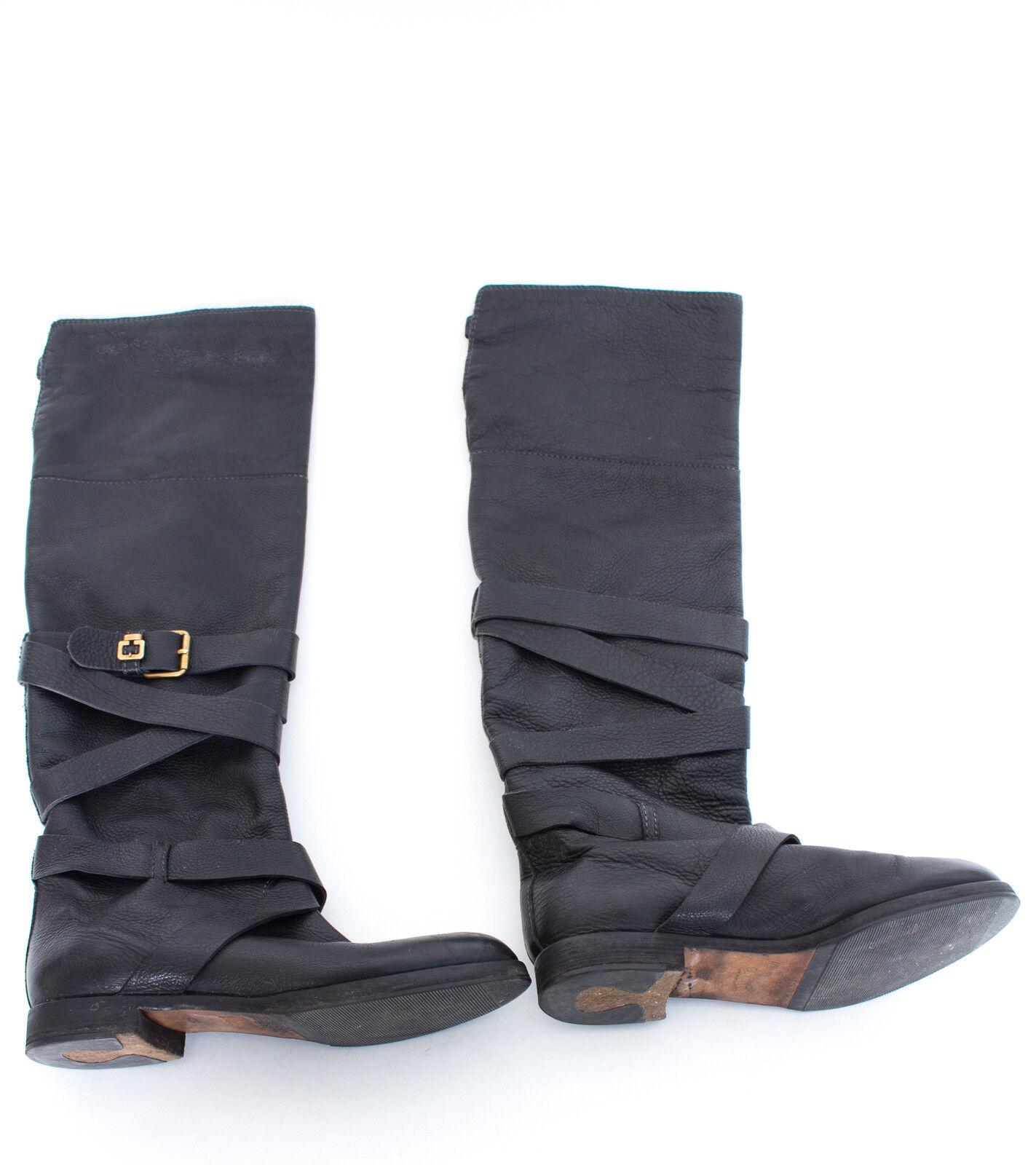fbf47dc6634 Chloé botas con alto caña cuero negro 011402 - eventoselocho.es