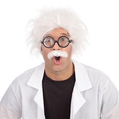Mens Ladies Einstein Mad Scientist Halloween Fancy Dress Costume Outfit Wig