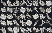 Wholesale 100pcs Bulk Lots Tibetan Silver Mix Pendants Charms