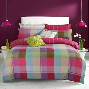 Harley-Multi-Xmas-Color-Check-Duvet-Cover-Quilt-Bedding-Set-PillowCases-All-Size