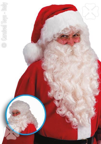 Parrucca e Barba Bianca Lusso Babbo Natale Travestimento Carnevale Uomo Nuovo