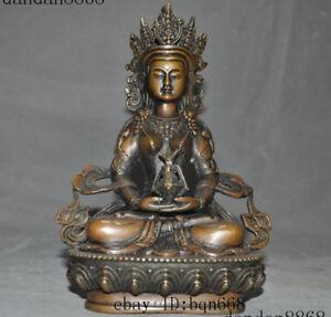 8-034-Old-Tibet-Buddhism-Bronze-Amitabha-Buddha-Tara-Kwan-Yin-Guanyin-Statue