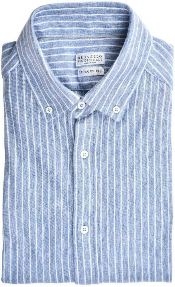 Brunello Cucinelli Short Sleeve hemd Leisure-Fit Größe Medium Blau 02SH0236  695